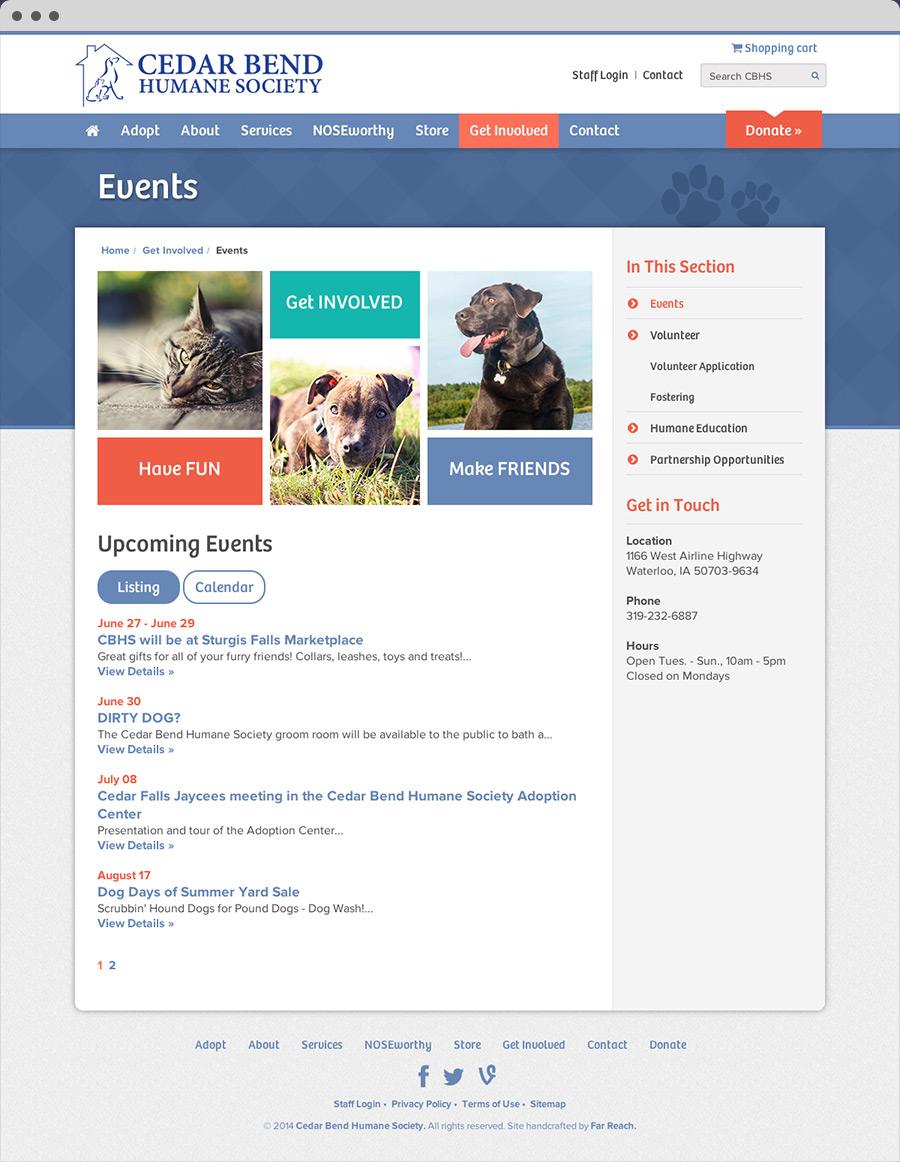 Cedar Bend Human Society Website Events