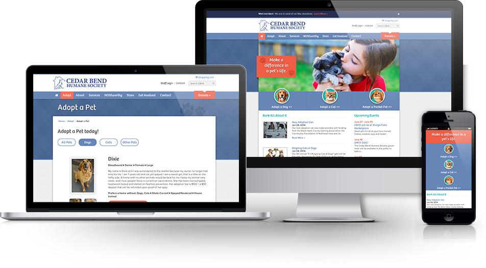 Cedar Bend Humane Society Responsive Web Design