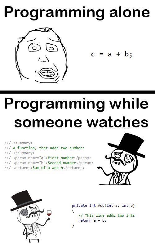 Programming Alone vs. Programming While Someone Watches