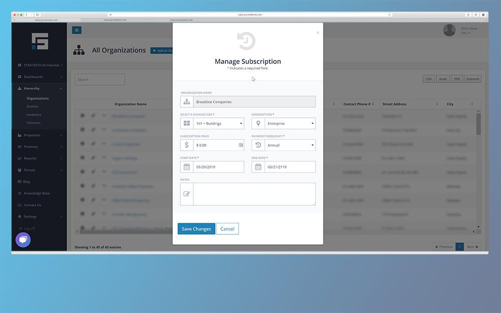 STRATAFOLIO Screen - Subscription Management